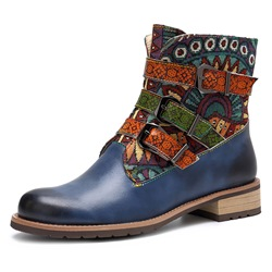 Shoespie Vintage Leather Splicing Pattern Buckle Ankle Boots