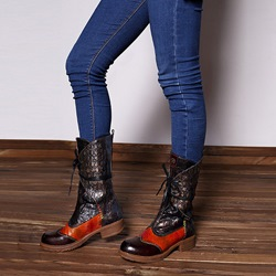 Shoespie Brown Vintage Pattern Splicing Leather Ankle Boots