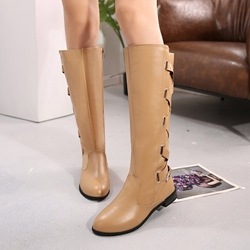 Shoespie PU Buckle Side Zipper Knee High Boots