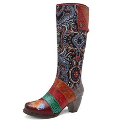 Shoespie Bohemian Vintage Splicing Pattern Leather Knee High Boots
