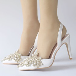 Shoespie White Beads Slingback Strap Wedding Shoes
