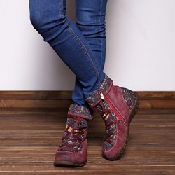 Shoespie Vintage Splicing Jacquard Lace Up Leather Ankle Boots
