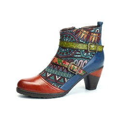 Shoespie Bohemian Vintage Leather Splicing Zipper Ankle Boots