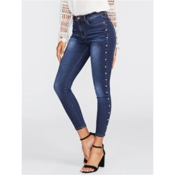 Plain Pencil Pants Bead Slim Women's Jeans