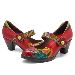 Shoespie Vintage Red Flower Printing Hook Loop Leather Loafers