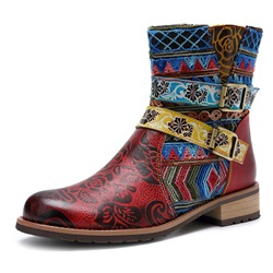 Shoespie Vintage Leather Buckle Splicing Pattern Ankle Boots