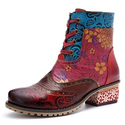 Shoespie Vintage Splicing Pattern Floral Leather Ankle Boots