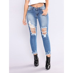 Hole Pencil Pants Plain Mid-Waist Women's Jeans