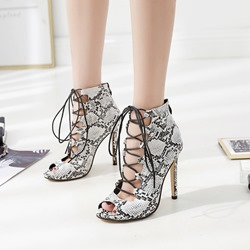 Shoespie Serpentine Cross Strap Peep Toe Stiletto Heels