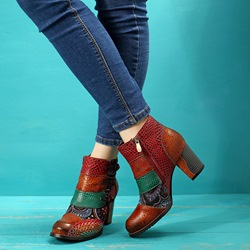 Shoespie Orange Vintage Floral Splicing Zipper Leather Boots