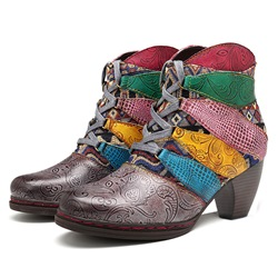 Shoespie Vintage Color Block Splicing Pattern Leather Ankle Boots