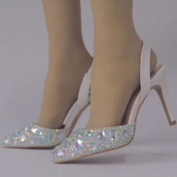 Shoespie White Rhinestone Slingback Strap Wedding Shoes