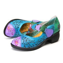 Shoespie Vintage Blue Floral Hollow Out Leather Loafers