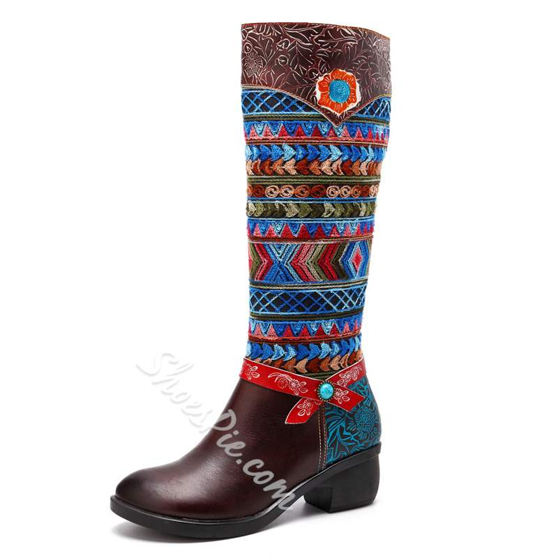 Shoespie Vintage Brown Splicing Pattern Leather Knee High Boots