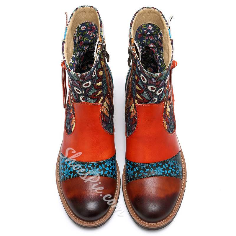 Shoespie Vintage Splicing Pattern Cross Strap Leather Ankle Boots