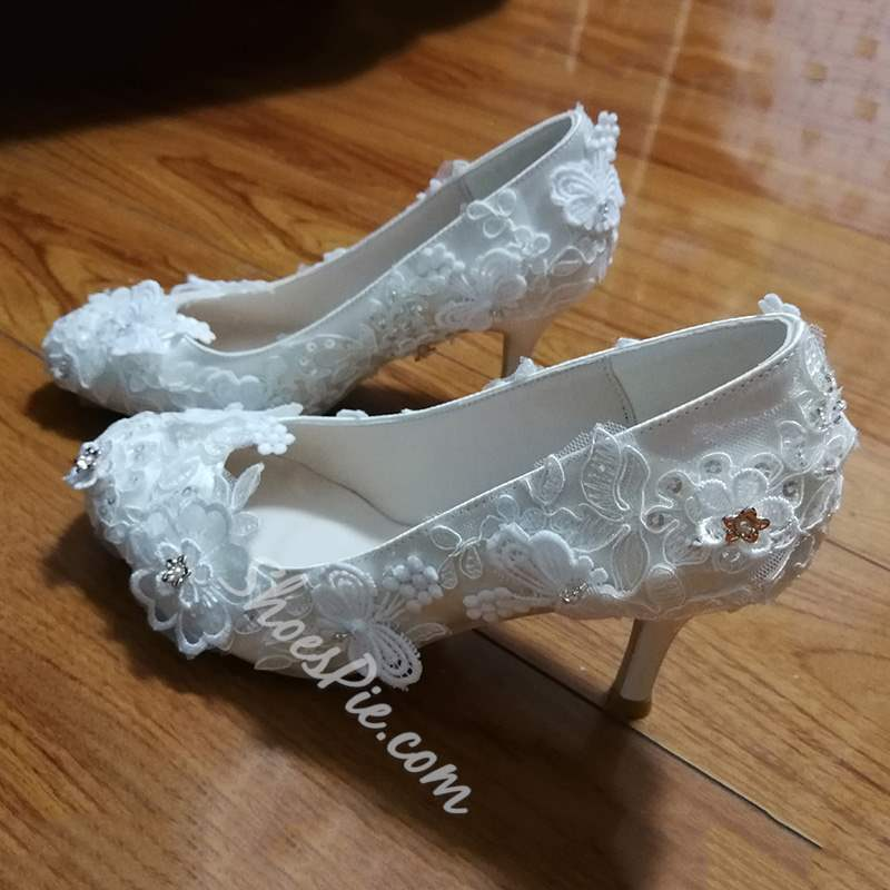 Shoespie White Lace Slip-On Stiletto Heel Wedding Shoes