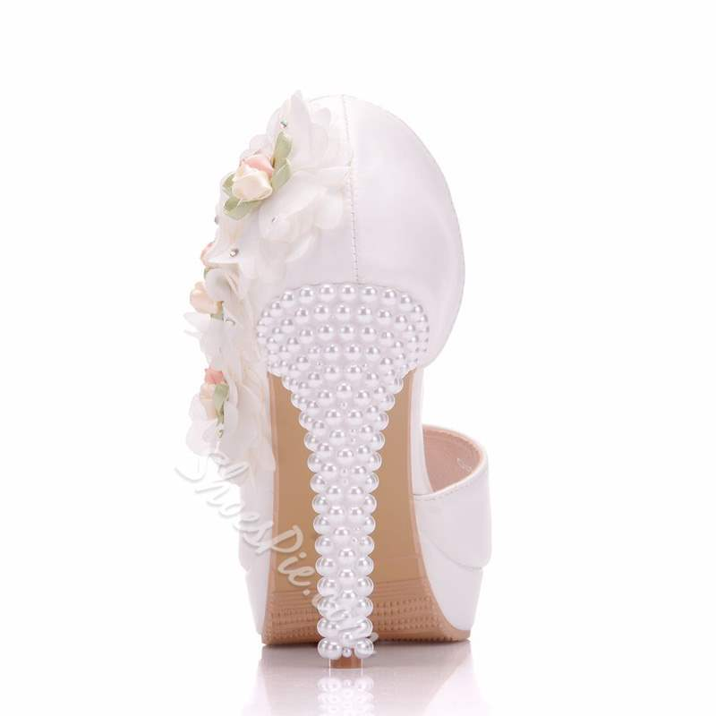 White Floral Peep Toe Stiletto Heel Wedding Shoes