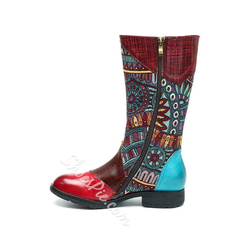 Shoespie Vintage Red Splicing Pattern Leather Knee High Boots