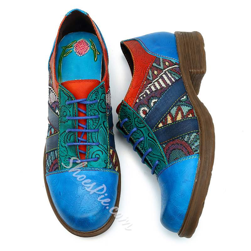 Shoespie Vintage Splicing Pattern Lace-Up Leather Loafers