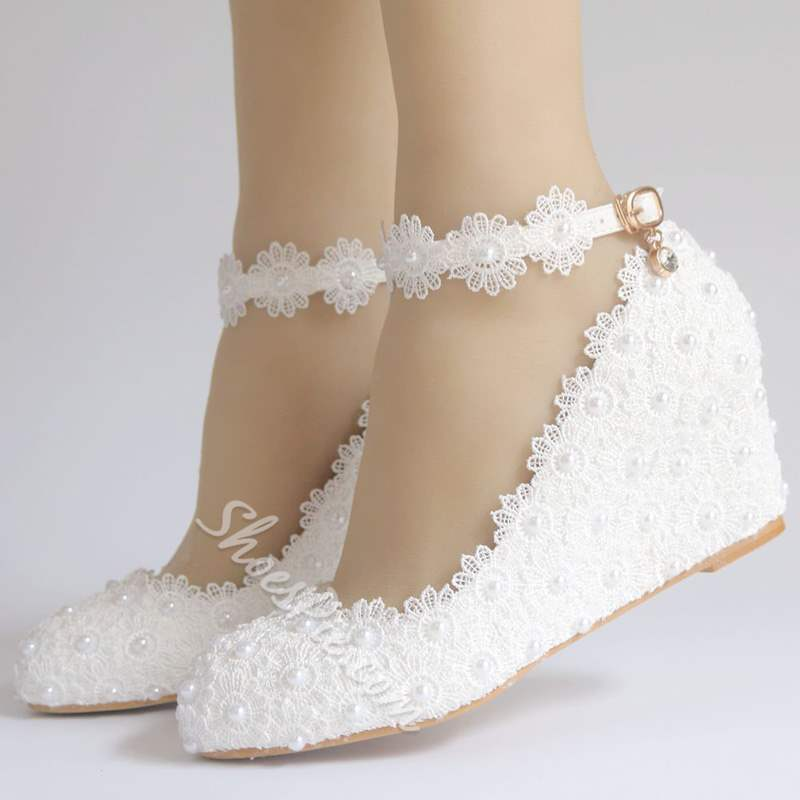 Shoespie White Line-Style Buckle Wedge Heel Wedding Shoes