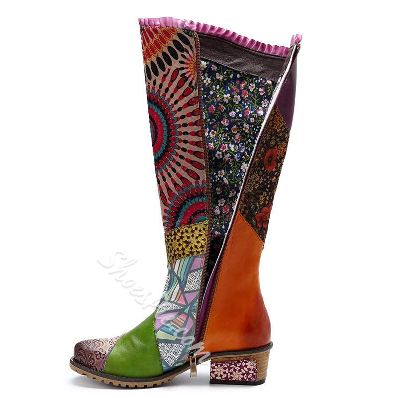 Shoespie Vintage Splicing Pattern Leather Flat Knee High Boots