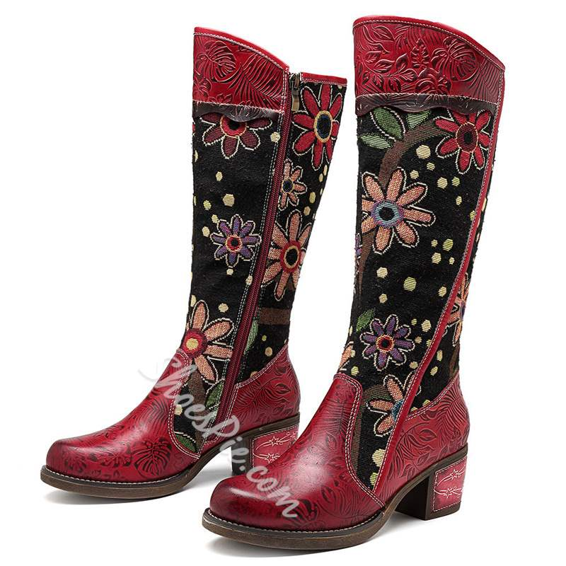 Shoespie Red Vintage Leather Floral Splicing Knee High Boots
