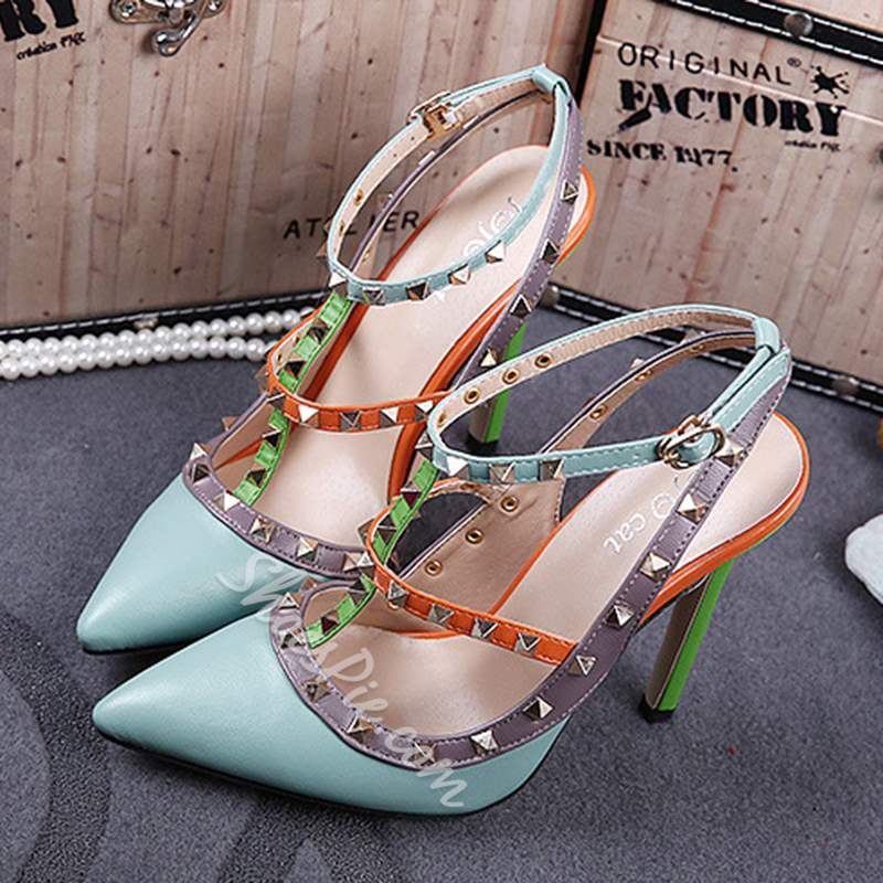 Shoespie Color Block Rivet Strappy Buckle Stiletto Heels