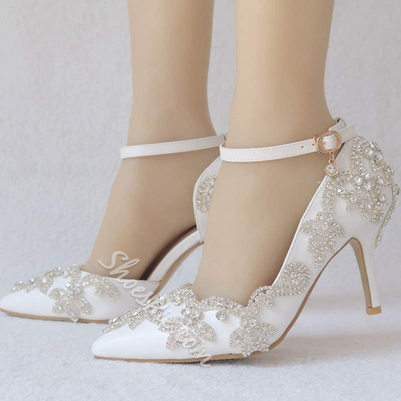 Shoespie White Rhinestone Stiletto Heel Wedding Shoes