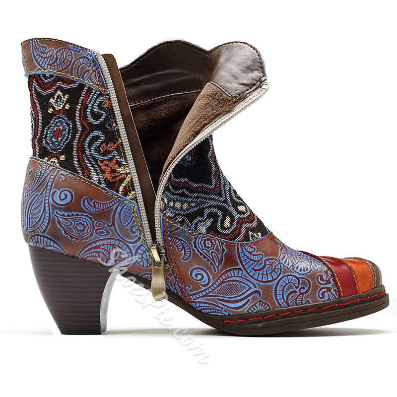 Shoespie Vintage Blue Floral Splicing Zipper Leather Ankle Boots