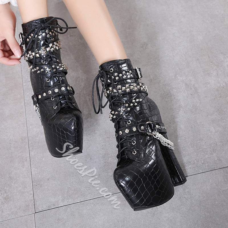 Shoespie Black Platform Chain Rivet High Heel Ankle Boots