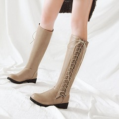 Shoespie PU Lace-Up Flat Knee High Boots