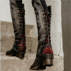 Shoespie Vintage Lace Up High Heel Knee High Boots