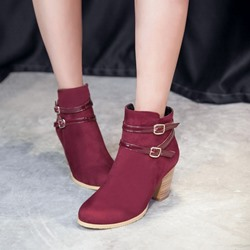 Shoespie Casual Buckle Suede High Heel Ankle Boots