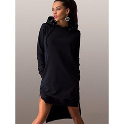 Hooded Pocket Pullover Plain Women's Maxi Dress