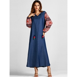 Long Sleeve Muslim Pullover Women's A-Line Dress