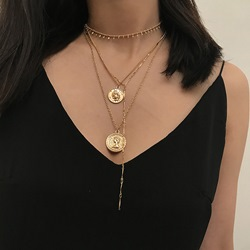 V Type Figure Shape Gold Coin Layered Necklace