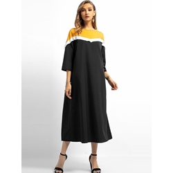 Color Block Patchwork Fall Women's Maxi Dress