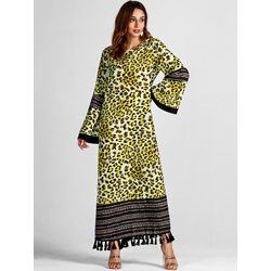 Leopard Fringe Print Fall Women's Maxi Dress