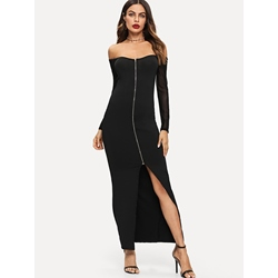 Slash Neck Plain Fall Women's Maxi Dress