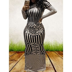 Stripe Print Fall Bodycon Women's Maxi Dress