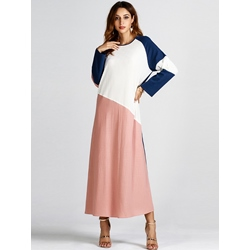 Round Neck Color Block Fall Women's Maxi Dress