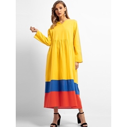 Color Block Fall Spring Patchwork Women's A-Line Dress