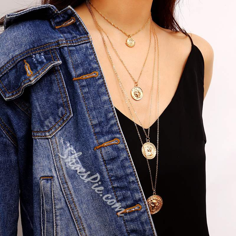 Retro Golden Coin Design Multi-Layer Necklace