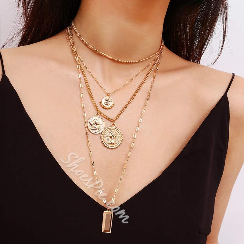 Layered Gold Coin Pendant Necklace
