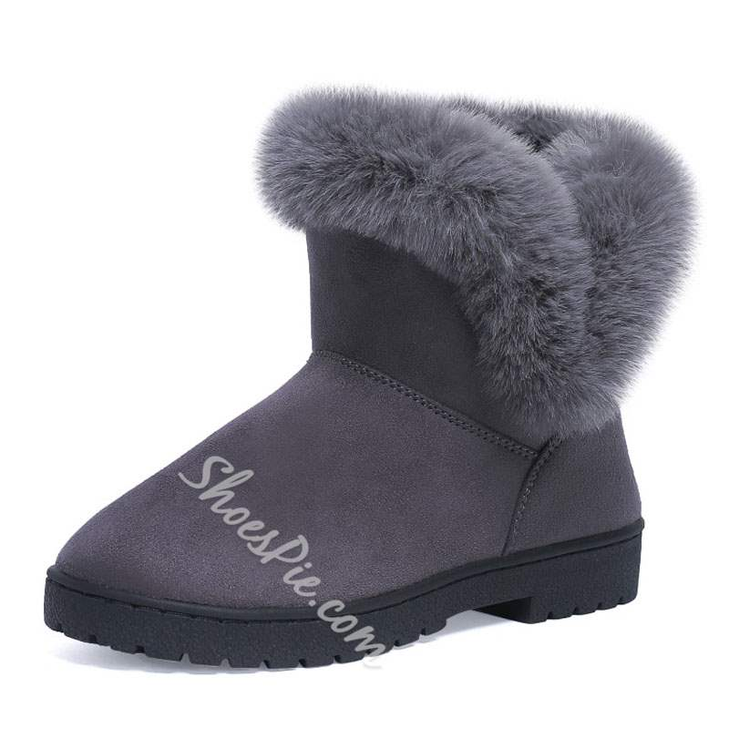 Shoespie Winter Purfle Slip On Flat Snow Boots