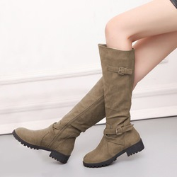 Shoespie Buckle Side Zipper Knee High Boots