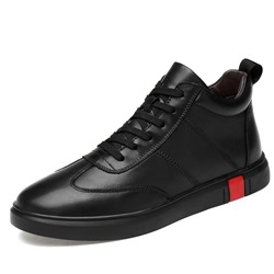 Shoespie Black Mid-Cut Upper Lace Up Men's Sneakers