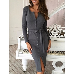 Long Sleeve Belt Button Plain Women's Bodycon Dress