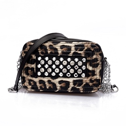 Shoespie Leopard PU Chain Flap Crossbody Bags