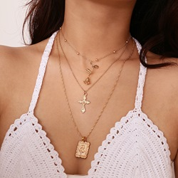 Rose Shape Cross Gold Layered Necklace